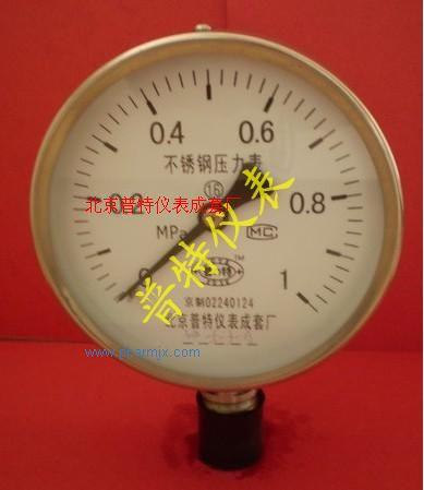 北京优质Y100BF不锈钢压力表 耐腐压力表 防腐压力表 质量值得信赖
