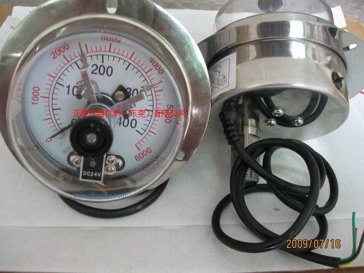 供应轴向带边400KG电接点压力表(台湾款式)