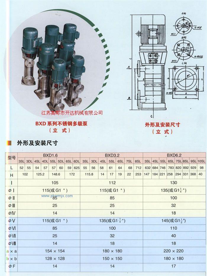 BXD立式系列不銹鋼多級泵